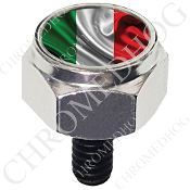 Harley Custom Seat Bolt - Hex Silver Billet - Flag - Italy