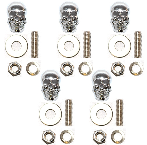 Chrome Skull W Silver Eyes Motorcycle Windshield Bolts