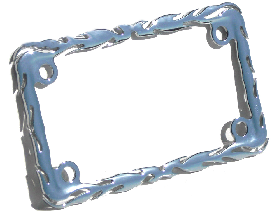 Motorcycle License Plate Frame Chrome Flame Metal