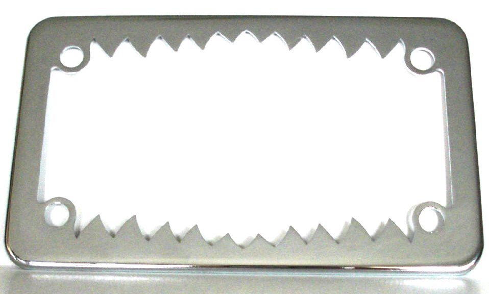 chrome shark teeth motorcycle license plate frame