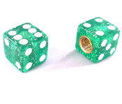 Dice Valve Stem Caps - Green Glitter - Set of 2