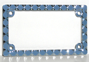 Motorcycle License Plate Frame - Diamond - Chrome