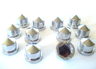 "Chrome Cylinder 7/16"" Bolt & Nut Caps - Set of 12"