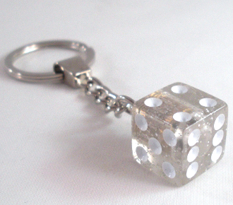 Chrome Key Chain - Dice - Clear Glitter