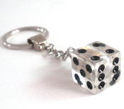 Chrome Key Chain - Dice - Clear