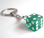 Chrome Key Chain - Dice - Green Glitter
