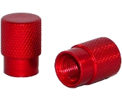 Knurled Flat Top Valve Stem Caps - Red - Set of 2