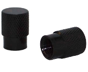 Knurled Flat Top Valve Stem Caps - Black - Set of 2