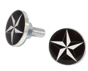 Polished Billet License Frame Bolts - Star - White/ Black - 2