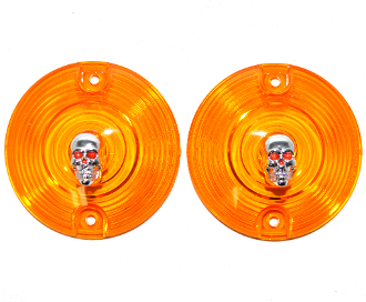 Low Profile Amber Lenses - Skull - Painted Eyes - 2