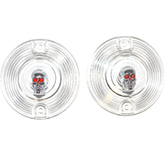 Low Profile Clear Lenses - Skull - Painted Eyes - 2