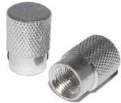 Knurled Flat Top Valve Stem Caps - Silver - Set of 2