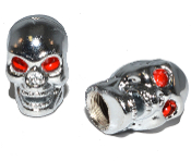 Skull Valve Stem Caps - Chrome - Set of 2