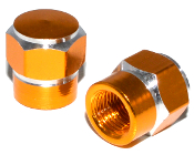 Hex Valve Stem Caps - Gold - Set of 2