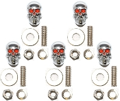 Motorcycle Windshield Bolts - Skull w/ Red Eyes - 5
