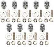 Motorcycle Windshield Bolts - Skull w/ Silver Eyes - 9