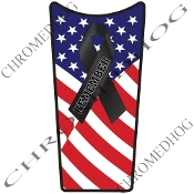 89-07 Road & Electra Glide Dash Insert Decal - 9/11 Ribbon Flag