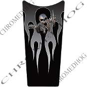 89-07 Road & Electra Glide Dash Insert Decal - Skeleton Flame Gy