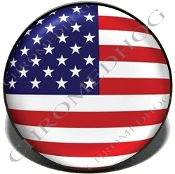 Knurled Valve Stem Caps - Flag - USA - 2