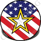 Knurled Valve Stem Caps - Army Star US Flag - 2