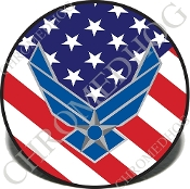 Knurled Valve Stem Caps - USAF US Flag - 2