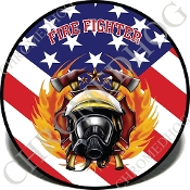 Knurled Valve Stem Caps - Fire Fighter US Flag - 2