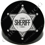 Knurled Valve Stem Caps - Sheriff Badge Black - 2
