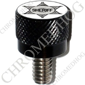 Harley Custom Seat Bolt - S KN Black Billet - Sheriff Badge W