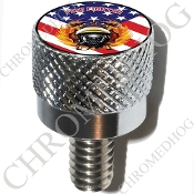 Harley Custom Seat Bolt - S KN Chrome Billet Fire Fighter - Flag