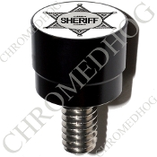 Harley Custom Seat Bolt - S SM Black Billet - Sheriff Badge W