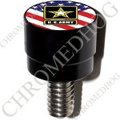 Harley Custom Seat Bolt - S SM Black Billet Army Logo - US Flag