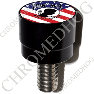 Harley Custom Seat Bolt - S SM Black Billet POW*MIA - US Flag