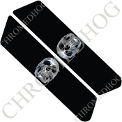96-07 Police Saddlebag Decals - Chrome Skull - Black