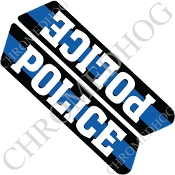 96-07 Police Saddlebag Decals - Blue Line - Police
