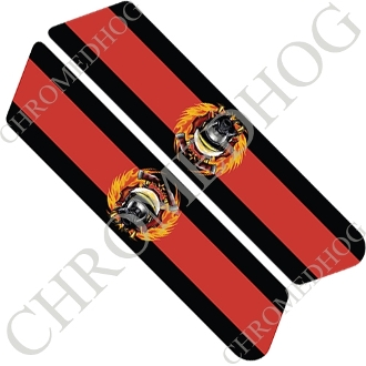 96-07 Police Saddlebag Decals - Red Line - Fire Fighter Logo