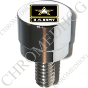 Harley Custom Seat Bolt - S SM Chrome Billet - US Army Logo W