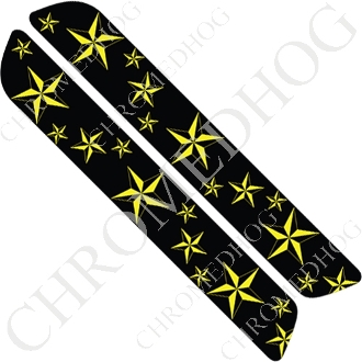 93-13 Saddlebag Latch Reflector Covers - Star - Yellow Multi