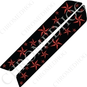 14-Up Saddlebag Latch Reflector Covers - Star - Red Multi