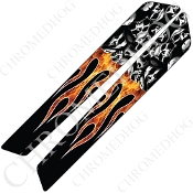 14-Up Saddlebag Latch Reflector Covers - Skull on Real Flame