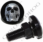 Sm Black Billet License Plate Bolts - Chrome Skull