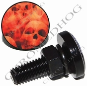 Sm Black Billet License Plate Bolts - Orange Fire Skull