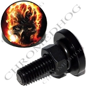 Sm Black Billet License Plate Bolts - Flaming Skull