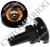 Sm Black Billet License Plate Bolts - Fire Fighter - Black