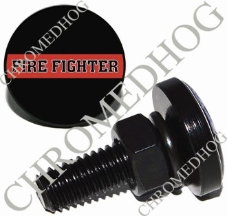 Sm Black Billet License Plate Bolts - Red Line - Fire Fighter