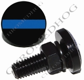 Sm Black Billet License Plate Bolts - Blue Line