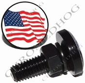 Sm Black Billet License Plate Bolts - Flag - American