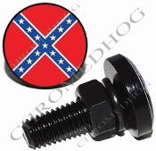 Sm Black Billet License Plate Bolts - Flag - Rebel