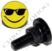 Sm Black Billet License Plate Bolts - Smile Face Shades