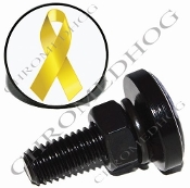 Sm Black Billet License Plate Bolts - Ribbon - Yellow/White