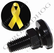Sm Black Billet License Plate Bolts - Ribbon - Yellow/Black